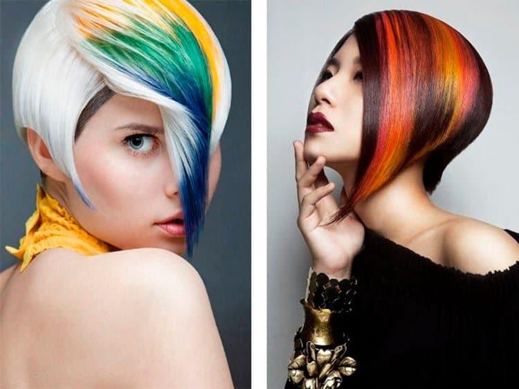 Посмотрите фото креативного окрашивания на короткие волосы.