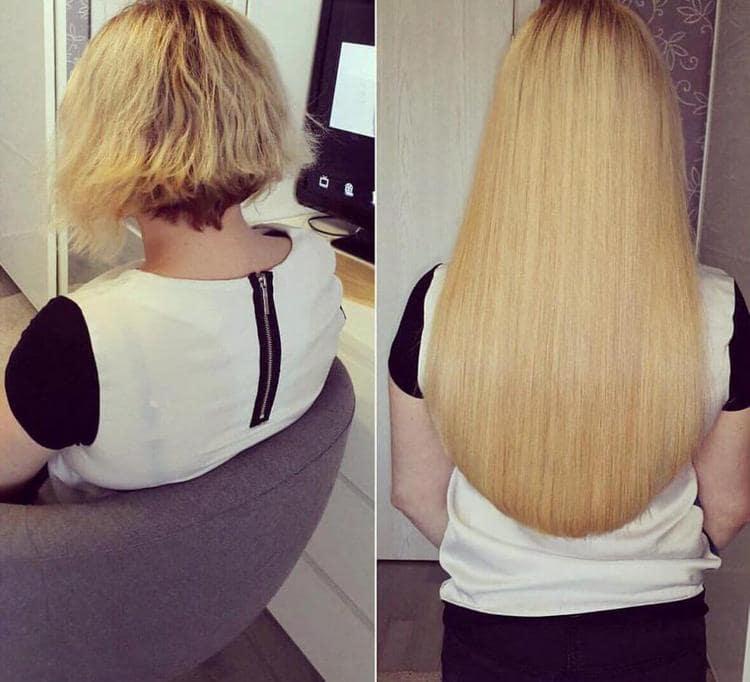 Ленточное наращивание на короткие волосы позволяет полностью практически полностью поменять имидж.