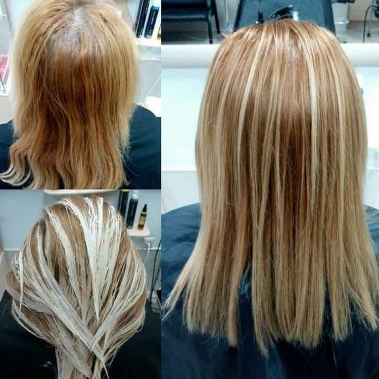 Посмотрите фото красивого мелирования на русые волосы.