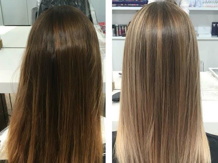 Посмотрите фото мелирования на русые волосы до и после.