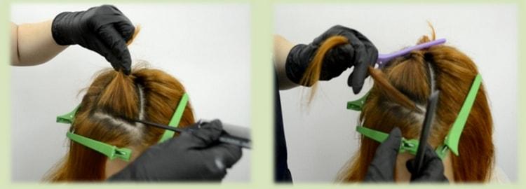 Мелирование на русые волосы средней длины, как на фото, можно делать техникой Треугольник.