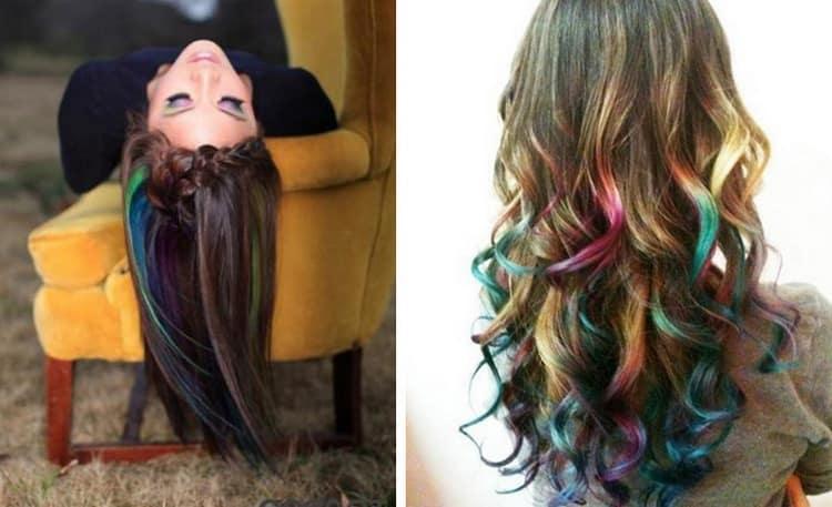 Очень стильно выглядит такое окрашивание с использованием разных цветов.