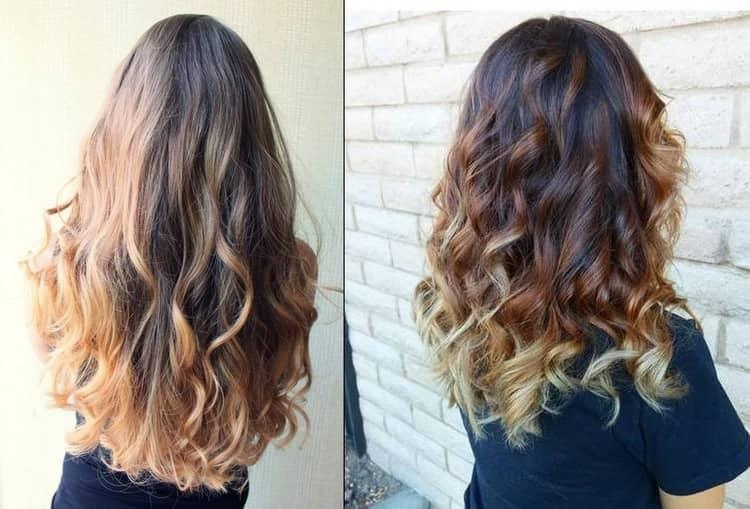 Красивое омбре на длинных и средних волосах.