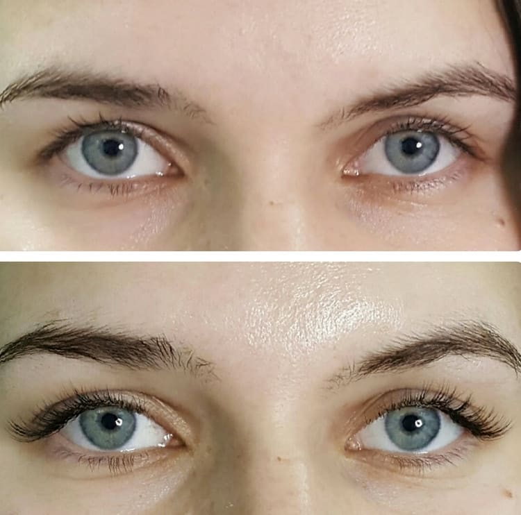 Посмотрите также фото до и после наращивания уголков ресниц.