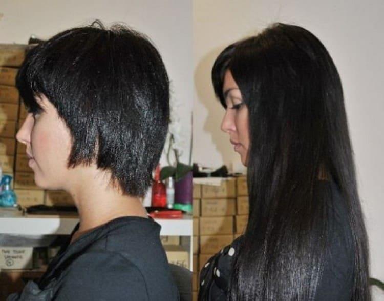 Посмотрите фото наращивания волос на очень короткие волосы.