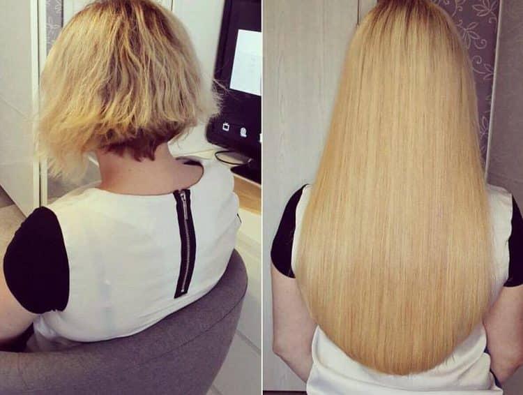 Посмотрите фото после наращивания волос на короткие волосы.
