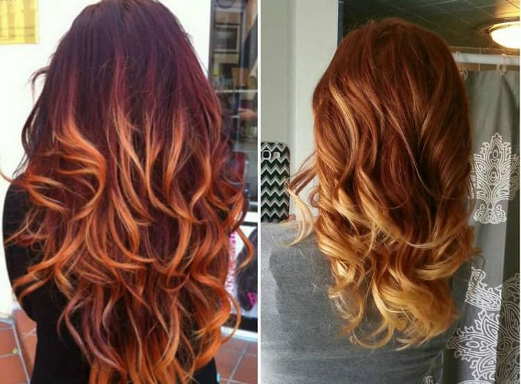 Окрашивание балаяж подходит на темные волосы как средней, так и большой длины.