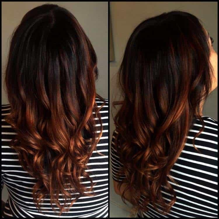 Изысканный переход на темных волосах.