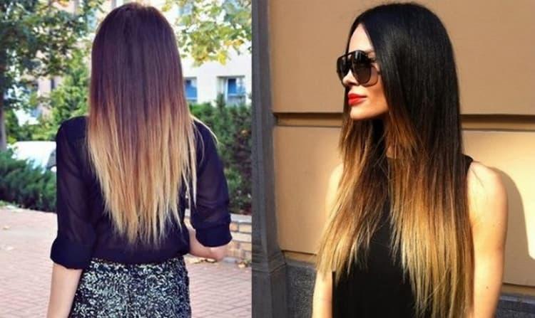 Окрашивание волос с темными корнями и светлыми концами остается в тренде.