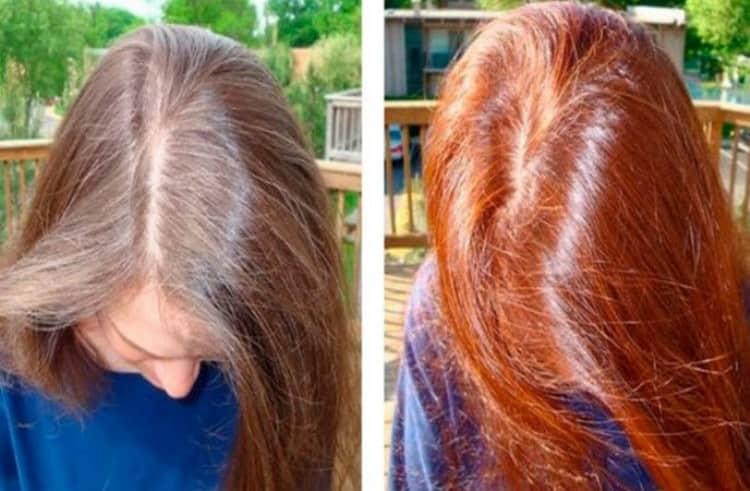 Посмотрите фото до и после окрашивания волос хной.