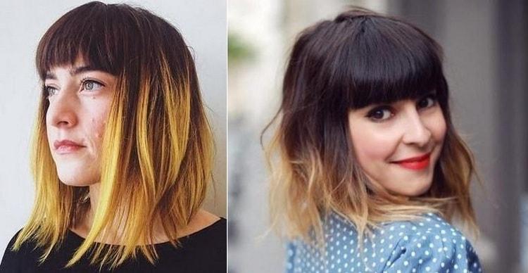 Посмотрите фото омбре на средние волосы с челкой.