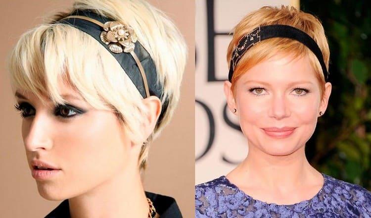 Для коротких волос можно также использовать аксессуары, в частности обручи и ободки.