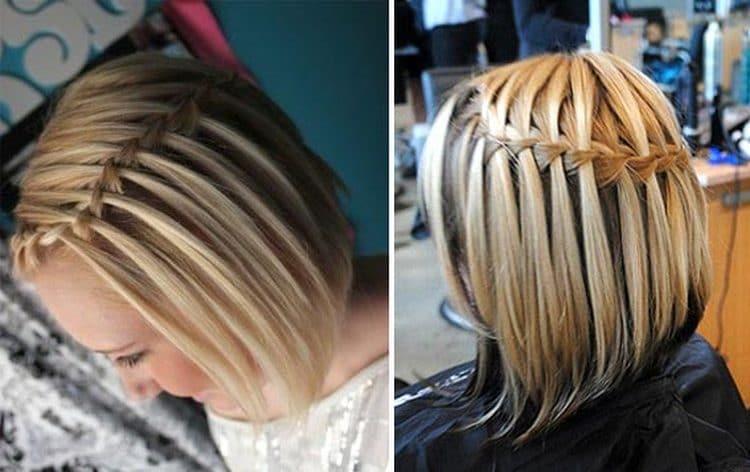 Еще один стильный вариант с плетением для коротких волос.