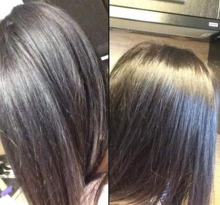 При том, что средство охрошо справилось с волосами в целом, оно плохо закрасило седину.