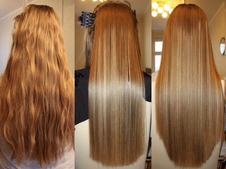 Волосы очень красиво выпрямились.