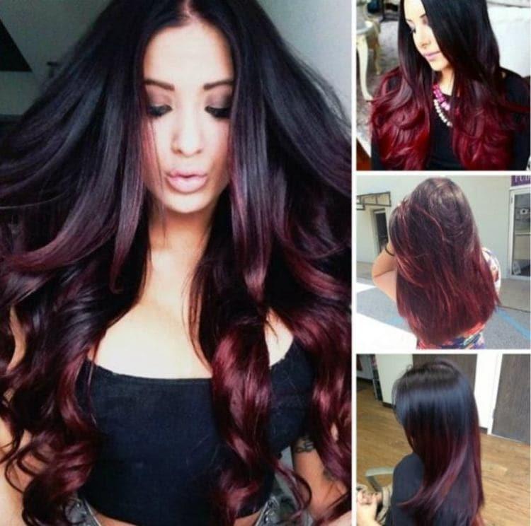 Посмотрите фото сложного окрашивания волос на черные волосы.