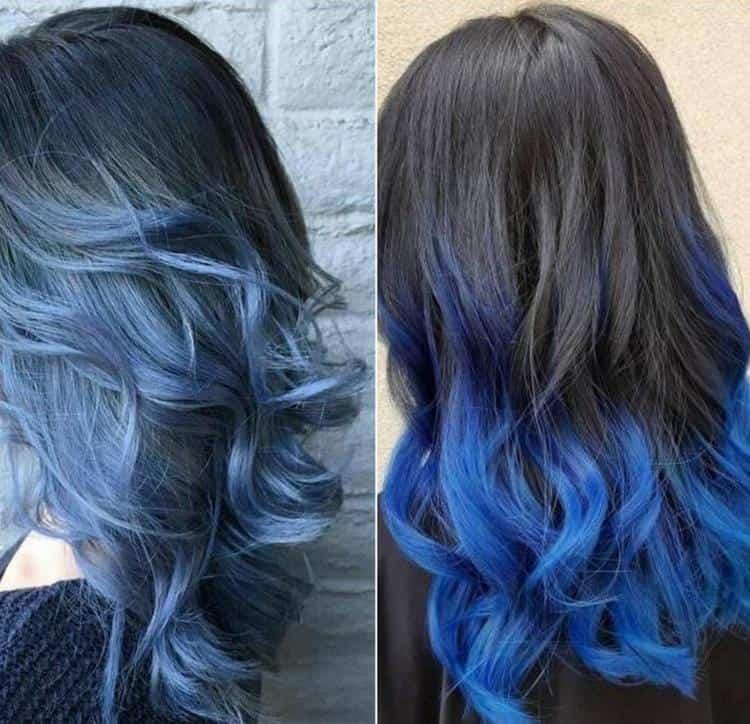 Синие кончики темных волос выглядят очень эффектно.