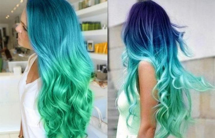Очень красиво выглядят зеленые оттенки на волосах в пастельных тонах.
