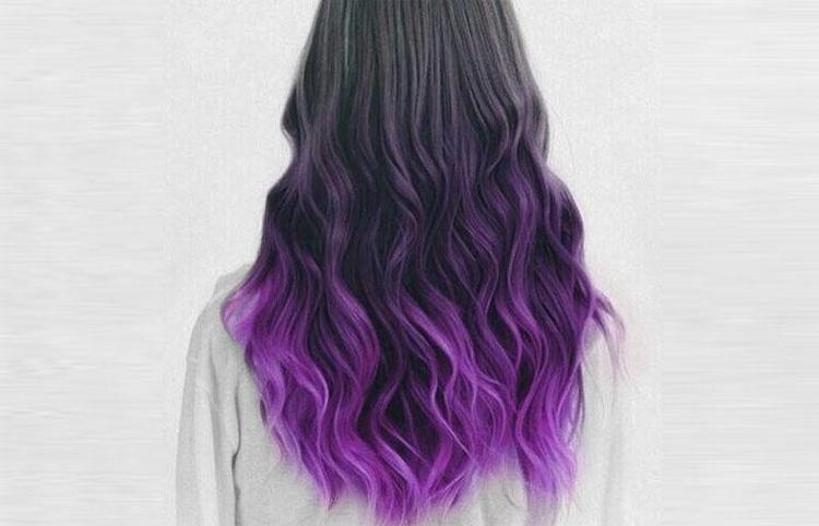 Стильный переход от пепельного к фиолетовому.
