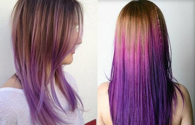 Фиолетовый градиент на волосах считается очень модным.