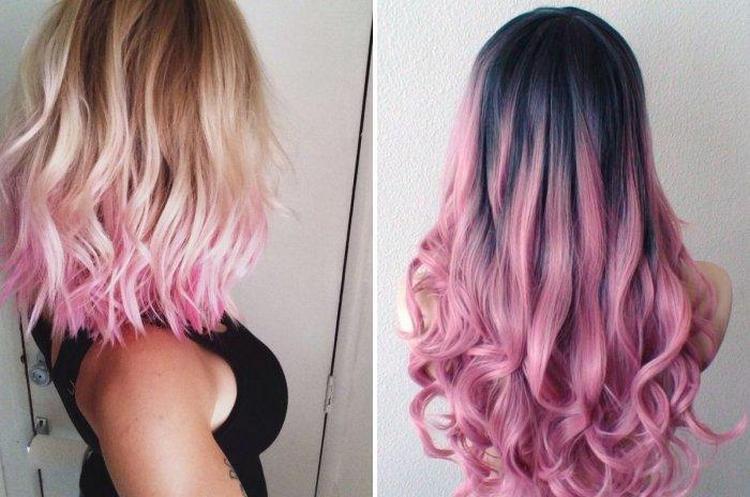 Розовой цвет можно правильно сочетать и со светлыми, и с темными волосами.