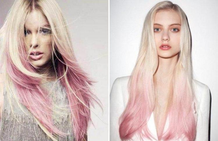 особенно удачно розовые кончики волос смотрятся при светлой шевелюре.