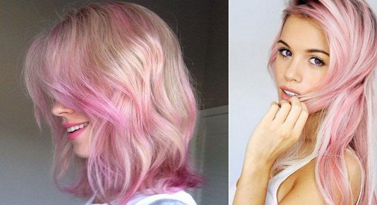 на светлых волосах особенно нежно выглядит розовая краска.