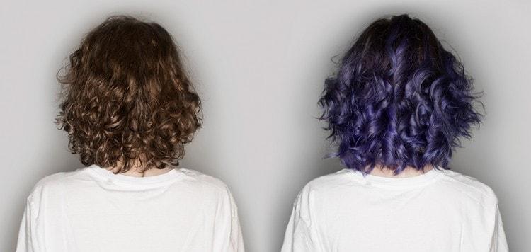 Фото фиолетового омбре до и после.