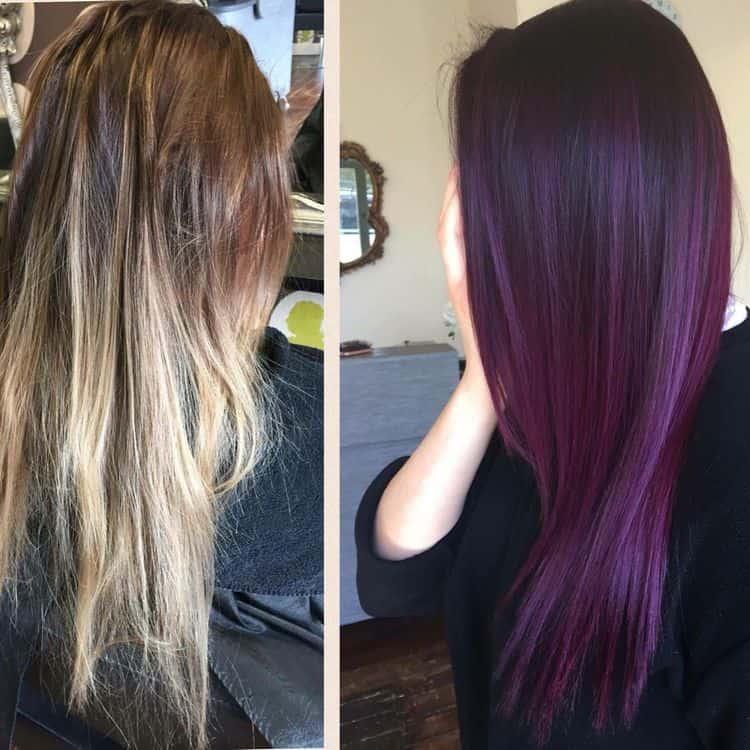 Фото окрашивания волос до и после.
