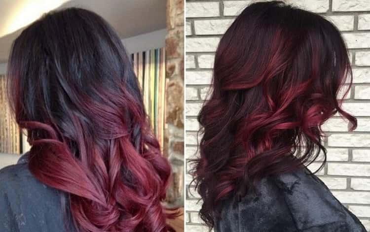 очень красиво и богато выглядит вишневое и бордовое омбре на волосах.