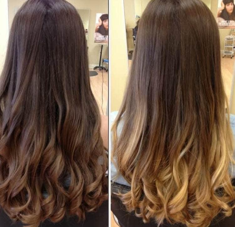 на длинных волосах такая техника окрашивания позволяет сделать красивые переходы цвета.