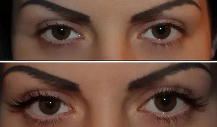 Посмотрите фото до и после с видами наращивания ресниц.