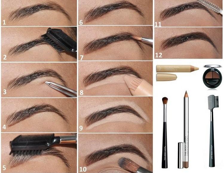 Пошаговая инструкция с фото: как правильно красить брови тенями