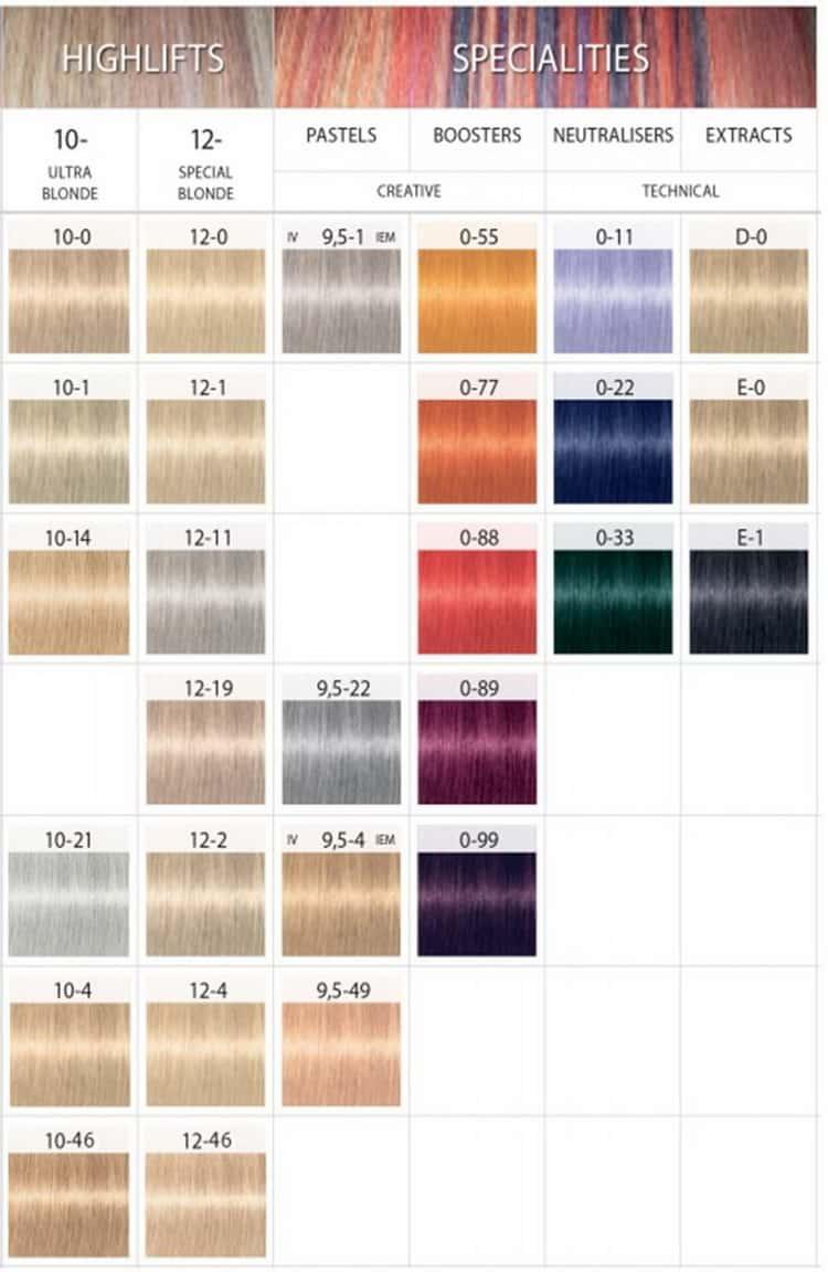 Палитра краски для волос Igora Royal Specialities
