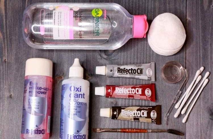 окрашивание бровей краской refectocil