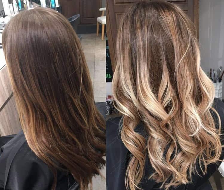 Посмотрите фото окрашивания русых волос до и после.