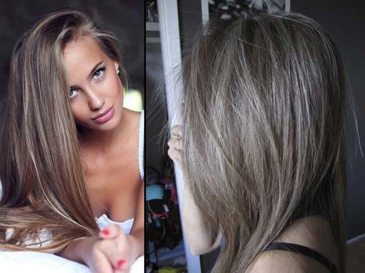 Стильное окрашивание волос в светло-русый пепельный.