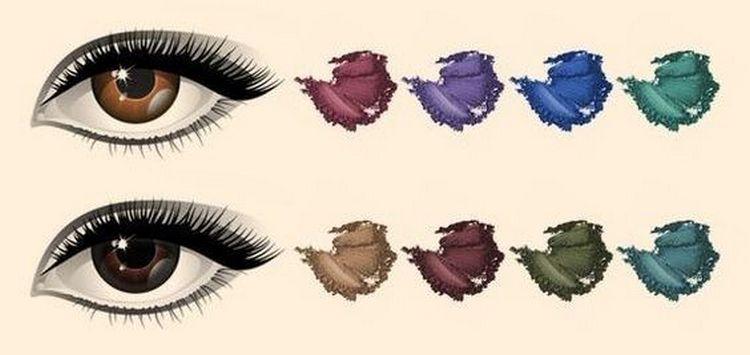 Для карих глаз подходит много оттенков теней.
