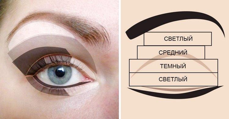 Посмотрите пошаговую инструкцию о том, как красить глаза тенями.