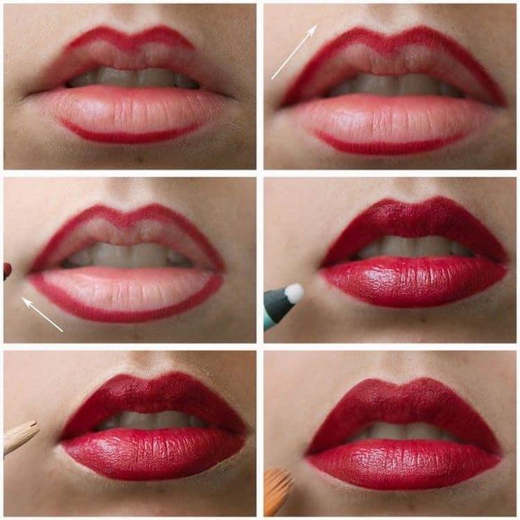 Очень стильно выглядит макияж с красной помадой для брюнеток.