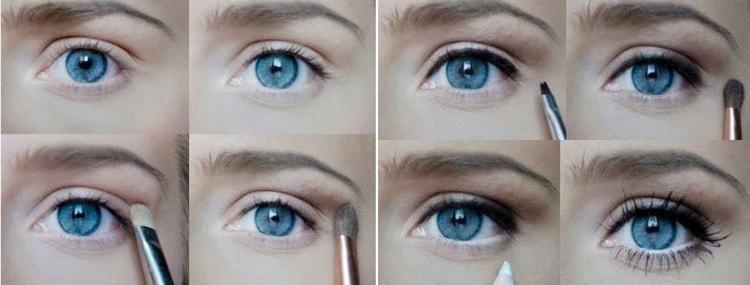 А вот нюдовый макияж для серо-голубых глаз.