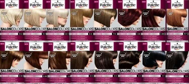 Палитра красок для волос Палет салон колорс состоит из многих цветов, за счет чего собрала много положительных отзывов.