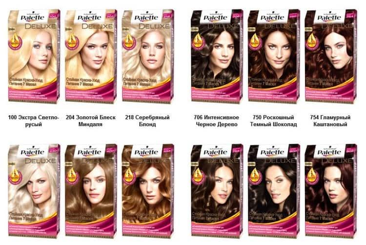 Палитра цветов краски для волос Палет.