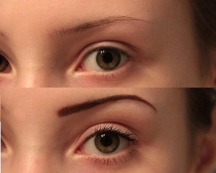 А вот фото до и после прорисовки бровей карандашом.