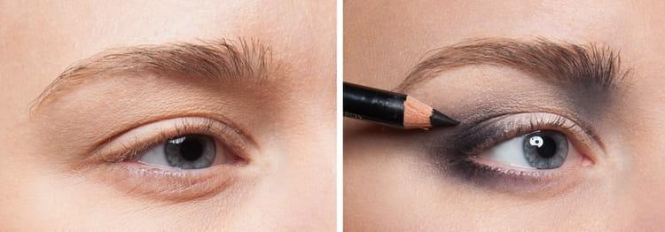 Сложнее делать макияж глаз карандашом.