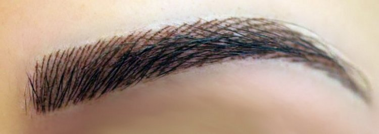 Так выглядит татуаж бровей волосковой техникой.