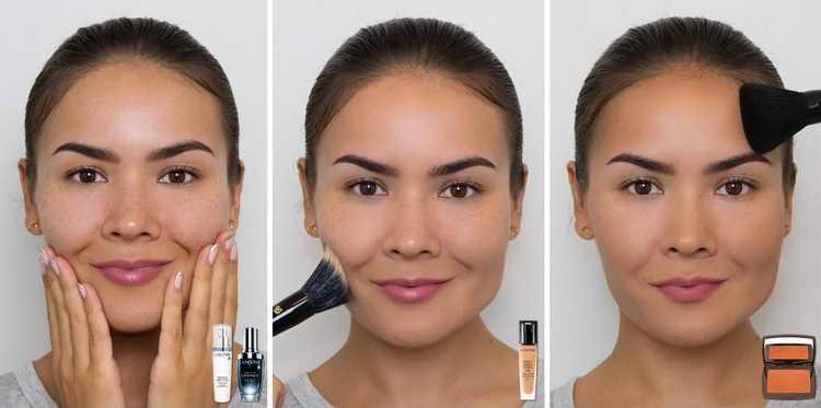 Этапы нанесения косметики с макияжем без макияжа