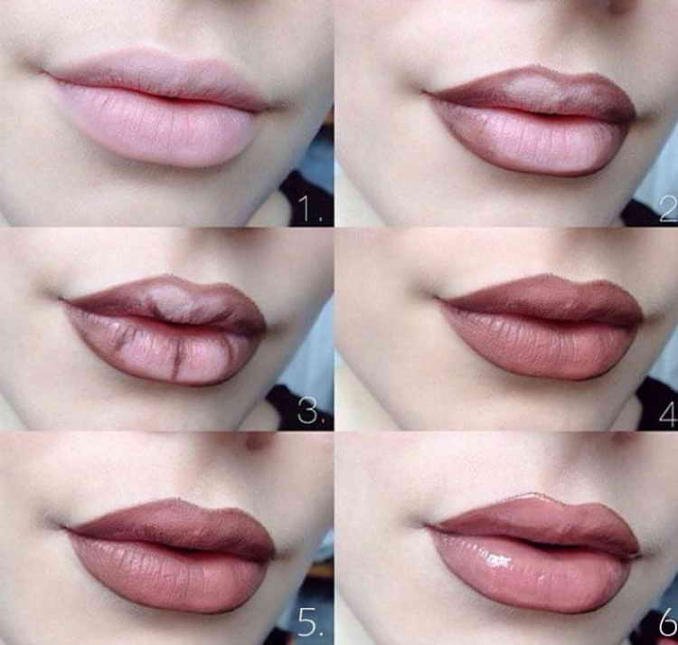 макияж губ эффект омбре