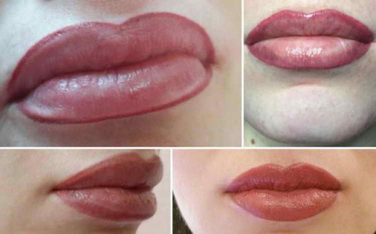 татуаж контура губ фото до и после