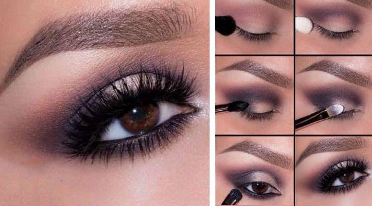 Вариант стильного макияжа глаз.